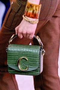 Chloe Green Crocodile Embossed Mini Top Handle Bag - Fall 2019
