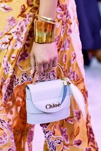 Chloe Light Blue Lizard Mini Top Handle Bag - Fall 2019