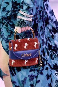 Chloe Red Horse Embroidered Mini Top Handle Bag - Fall 2019