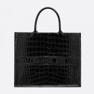 Dior Black Alligator Book Tote Bag
