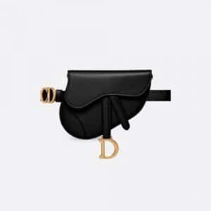 Dior Black Calfskin Saddle Belt Bag