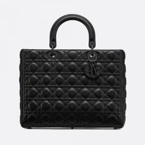 Dior Black Ultra Matte Large Lady Dior Bag