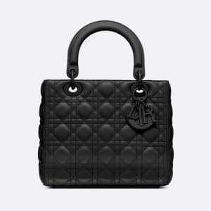 Dior Black Ultra Matte Medium Lady Dior Bag