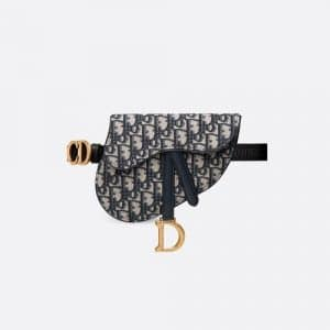 Dior Blue Oblique Canvas Saddle Belt Bag