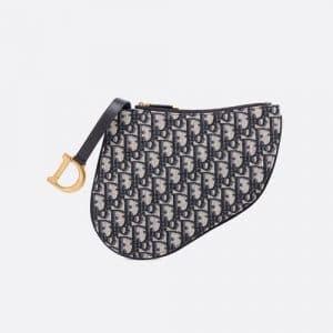 Dior Blue Oblique Canvas Saddle Clutch Bag