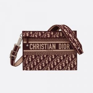 Dior Burgundy Oblique Canvas Embroidered Clutch Bag