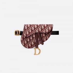 Dior Burgundy Oblique Canvas Saddle Belt Bag