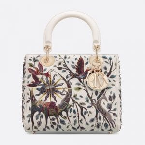 Dior Latte Earth Embroidered Medium Lady Dior Bag