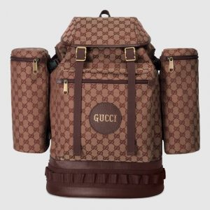 Gucci Beige/Bordeaux GG Canvas Large Backpack Bag