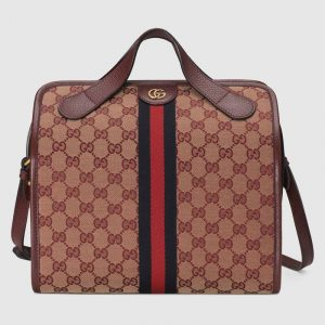 Gucci Beige/Bordeaux GG Canvas Ophidia Mini Duffle Bag
