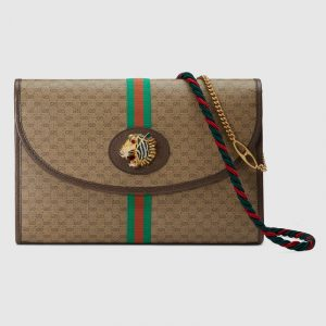 Gucci Beige/Ebony Mini GG Supreme Canvas Rajah Shoulder Bag