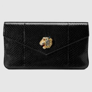 Gucci Black Python Rajah Clutch Bag