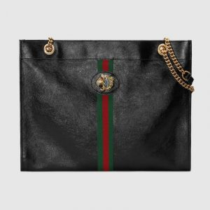 Gucci Black Rajah Large Tote Bag