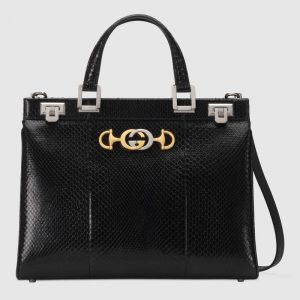 Gucci Black Snakeskin Zumi Medium Top Handle Bag