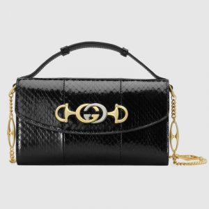 Gucci Black Snakeskin Zumi Mini Shoulder Bag
