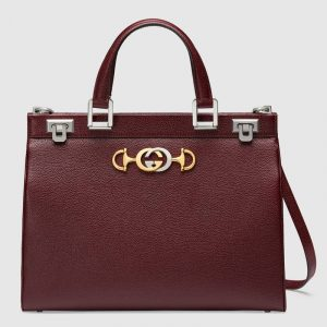 Gucci Burgundy Zumi Medium Top Handle Bag