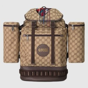 Gucci Camel/Ebony GG Canvas with Crystal Straps Large Backpack Bag