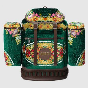 Gucci Green Floral Velvet Large Backpack Bag