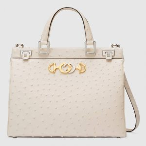 Gucci Ivory Ostrich Zumi Medium Top Handle Bag