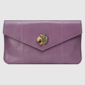 Gucci Purple Python Rajah Clutch Bag