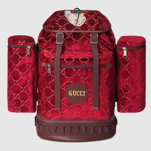 Gucci Red GG Velvet Large Backpack Bag
