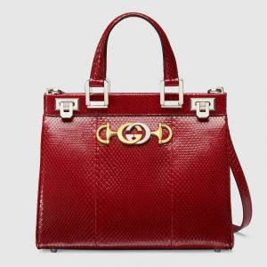 Gucci Red Snakeskin Zumi Small Top Handle Bag
