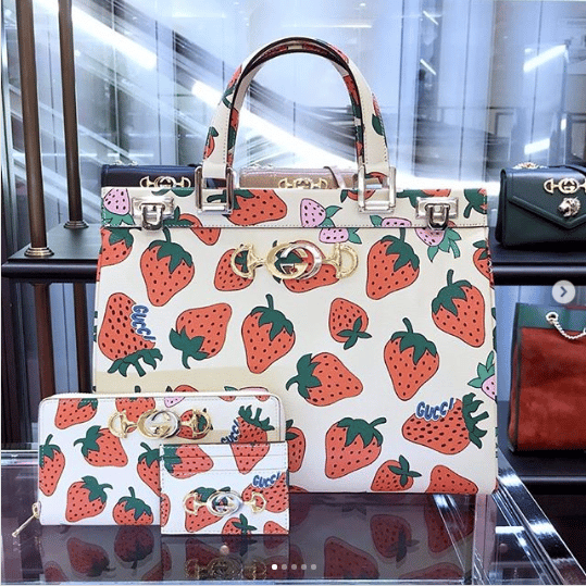 Gucci Strawberry Print Zumi Bag