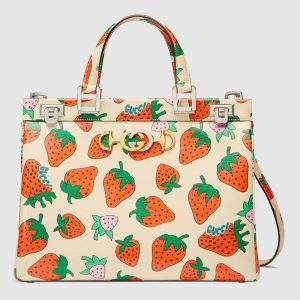 Gucci Strawberry Print Zumi Medium Top Handle Bag