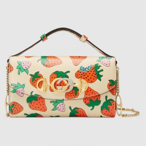 Gucci Strawberry Print Zumi Mini Shoulder Bag