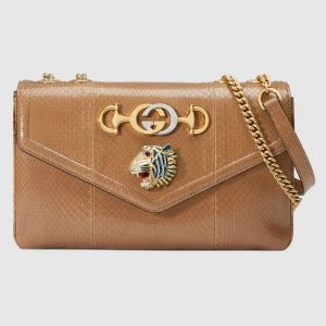 Gucci Taupe Snakeskin Rajah Medium Shoulder Bag