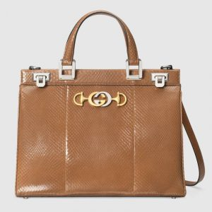 Gucci Taupe Snakeskin Zumi Medium Top Handle Bag