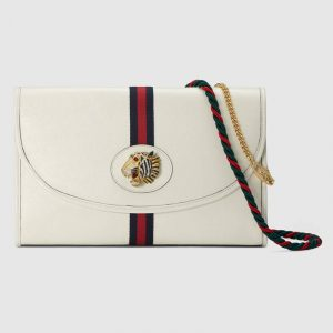 Gucci White Leather Rajah Shoulder Bag