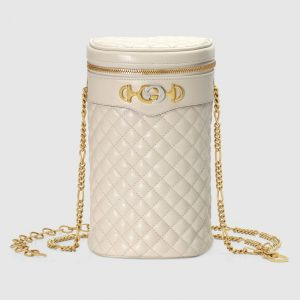 Gucci White Quilted Leather Belt Bag