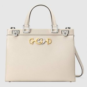 Gucci White Zumi Medium Top Handle Bag