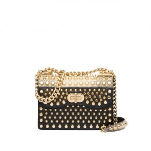 Prada Black/Gold Studded Belle Flap Bag