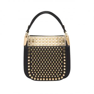 Prada Black/Gold Studded Margit Small Bag