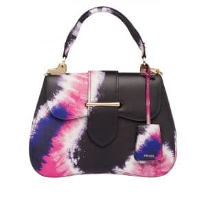 Prada Black/Pink Tie-Dye Print Sidonie Top Handle Bag