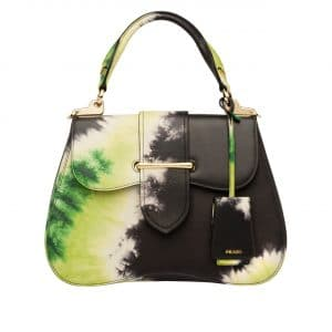 Prada Black/Yellow Tie-Dye Print Sidonie Top Handle Bag