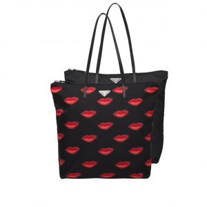 Prada Lips Print Nylon Twin Bag