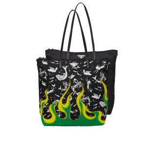 Prada Mermaid/Flame Print Nylon Twin Bag