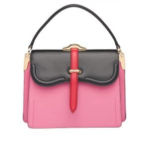 Prada Pink/Black Belle Top Handle Bag