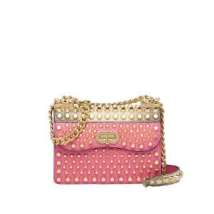 Prada Pink/Gold Studded Belle Flap Bag