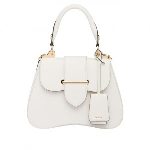 Prada White Sidonie Medium Saffiano Bag