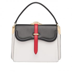 Prada White/Black Belle Top Handle Bag