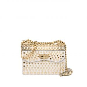 Prada White/Gold Studded Belle Flap Bag