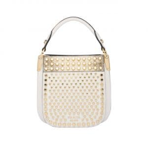 Prada White/Gold Studded Margit Small Bag