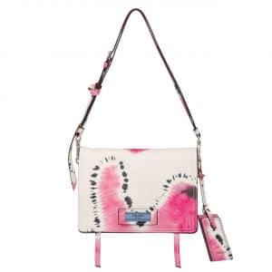 Prada White/Pink Tie-Dye Print Etiquette Shoulder Bag