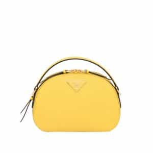 Prada Yellow Odette Saffiano Leather Bag