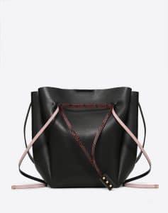 Valentino Black Go Logo Large Bucket Bag