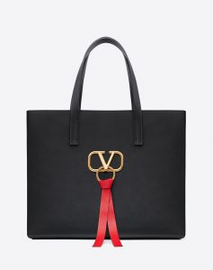 Valentino Black V-Ring E/W Large Shopper Bag
